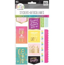 Me & My Big Ideas Happy Planner Stickers 5 Sheets - Gold Star Quotes