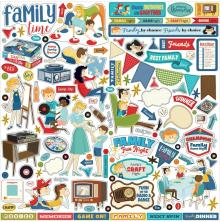Carta Bella Family Night Cardstock Stickers 12X12 - Elements