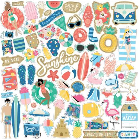 Echo Park Dive Into Summer Cardstock Stickers 12X12 - Elements