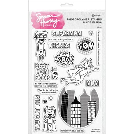 Simon Hurley create. Clear Stamps 6X9 - Supermom