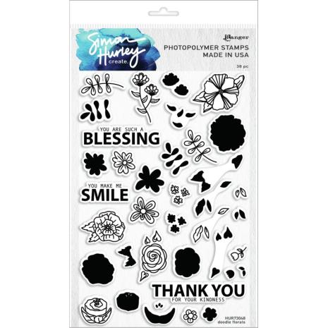 Simon Hurley create. Clear Stamps 6X9 - Doodle Florals
