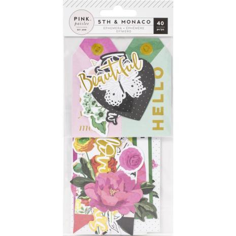 Pink Paislee Ephemera Cardstock Die-Cuts 40/Pkg - 5th & Monaco