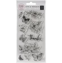 Pink Paislee Clear Acrylic Stamps 11/Pkg - 5th & Monaco