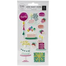 Pink Paislee Embossed Puffy Stickers 11/Pkg - And Many More
