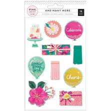 Pink Paislee Layered Stickers 10/Pkg - And Many More