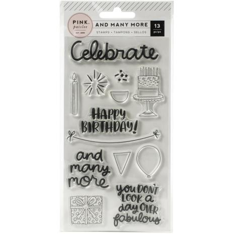 Pink Paislee Clear Acrylic Stamps 13/Pkg - And Many More