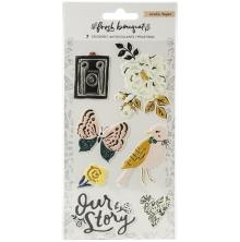 Crate Paper Embossed Puffy Stickers 7/Pkg - Fresh Bouquet
