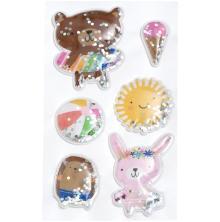 Pebbles Shaker Stickers 6/Pkg - Sun & Fun