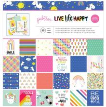 Pebbles Single-Sided Paper Pad 12X12 36/Pkg - Live Life Happy