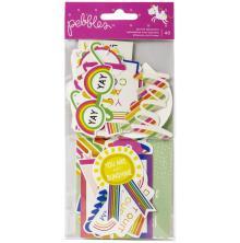 Pebbles Ephemera Cardstock Die-Cuts 40/Pkg - Live Life Happy Phrases