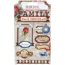 BoBunny Adhesive Layered Chipboard 9/Pkg - Family Heirlooms