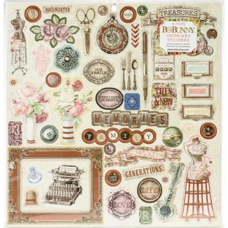 BoBunny Chipboard Stickers 12X12 - Family Heirlooms