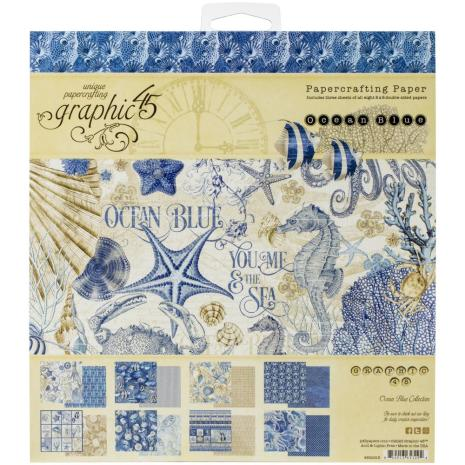Graphic 45 Double-Sided Paper Pad 8X8 24/Pkg - Ocean Blue