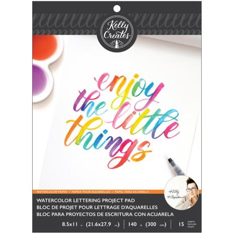 Kelly Creates Watercolor Brush Lettering Paper Pad 8.5X11 - Blank Watercolor Pap