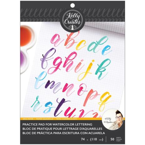 Kelly Creates Watercolor Brush Lettering Paper Pad 8.5X11 - Practice Pad Grid