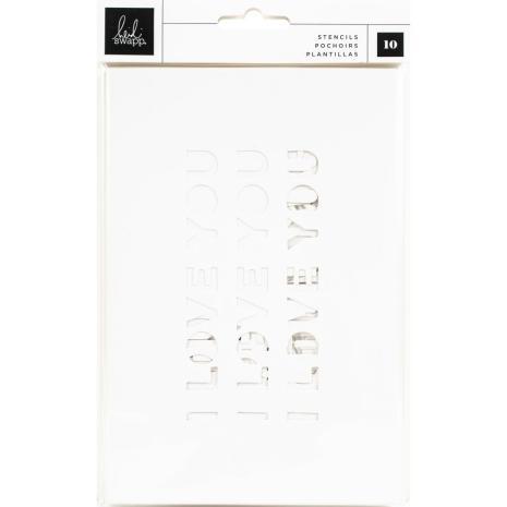 Heidi Swapp Art Walk Stencil Pad 10/Pkg - Patterned & Phrase