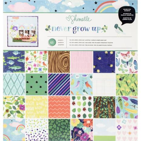 Shimelle Single-Sided Paper Pad 12X12 48/Pkg - Never Grow Up