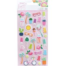 Dear Lizzy Puffy Stickers 33/Pkg - Here & Now Mini Icons
