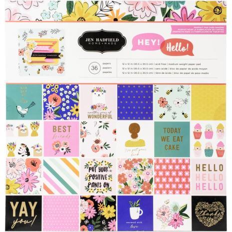 Jen Hadfield Single-Sided Paper Pad 12X12 36/Pkg - Hey, Hello