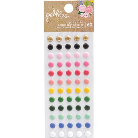 Pebbles Puffy Dot Stickers 60/Pkg - Lovely Moments