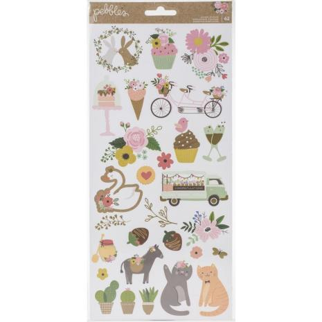 Pebbles Cardstock Stickers 6X12 62/Pkg - Lovely Moments Icons
