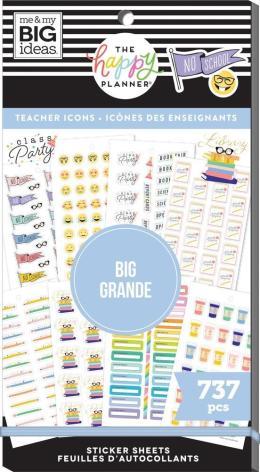 Me & My Big Ideas Happy Planner Sticker Value Pack -  Icons Teacher BIG