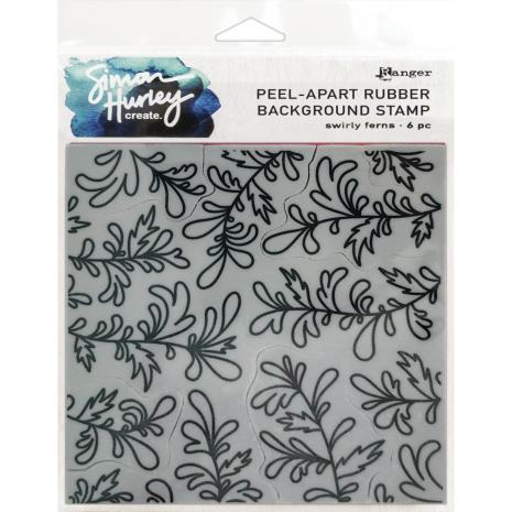 Simon Hurley create. Background Stamp 6X6 - Swirly Ferns