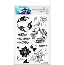 Simon Hurley create. Clear Stamps 6X9 - Posh Poinsettas