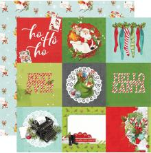 Simple Stories Simple Vintage North Pole Double-Sided Cardstock 12X12 - 4X4 Elem