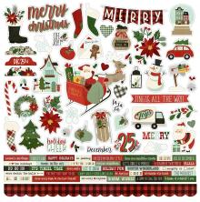 Simple Stories Jingle All The Way Sticker Sheet 12X12 - Combo