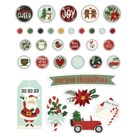 Simple Stories Decorative Metal Brads 32/Pkg - Jingle All The Way