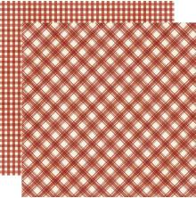 Simple Stories Jingle All The Way Basics Cardstock 12X12 - Cranberry Plaid/Gingh
