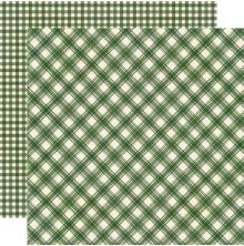 Simple Stories Jingle All The Way Basics Cardstock 12X12 - Evergreen Plaid/Gingh