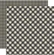 Simple Stories Jingle All The Way Basics Cardstock 12X12 - Coal Plaid/Gingham