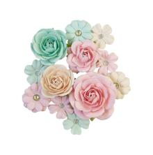 Prima Sugar Cookie Mulberry Paper Flowers 12/Pkg - Pink Jolly
