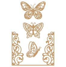 Prima Laser Cut Chipboard 4/Pkg - Butterfly Flight