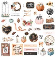 Prima Cardstock Ephemera 39/Pkg - Pumpkin & Spice Floral