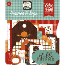 Echo Park Happy Fall Cardstock Die-Cuts 33/Pkg - Frames & Tags