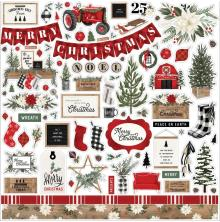 Carta Bella Farmhouse Christmas Cardstock Stickers 12X12 - Elements