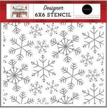 Carta Bella Farmhouse Christmas Stencil 6X6 - Merry Snowflakes