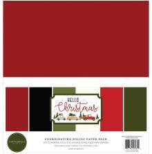 Carta Bella Solid Cardstock 12X12 6/Pkg - Hello Christmas