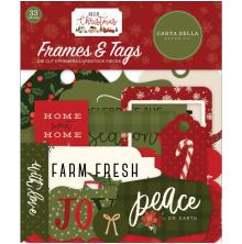 Carta Bella Hello Christmas Cardstock Die-Cuts 33/Pkg - Frames & Tags