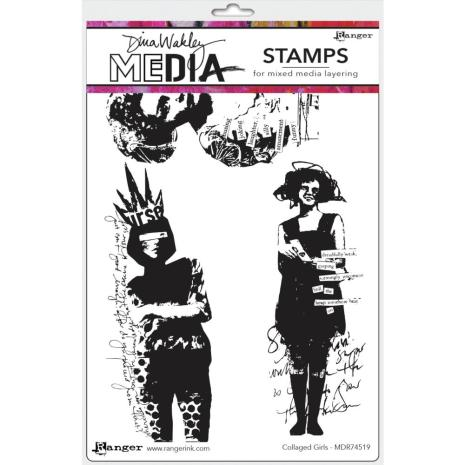 Dina Wakley Media Cling Stamps 6X9 - Collaged Girls