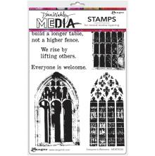 Dina Wakley Media Cling Stamps 6X9 - Everyone Is Welcome