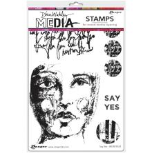 Dina Wakley Media Cling Stamps 6X9 - Say Yes