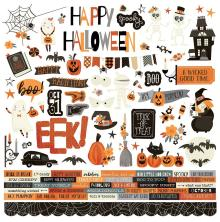 Simple Stories Boo Crew Sticker Sheet 12X12 - Combo