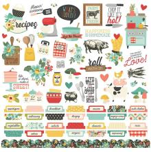 Simple Stories Apron Strings Sticker Sheet 12X12 - Combo