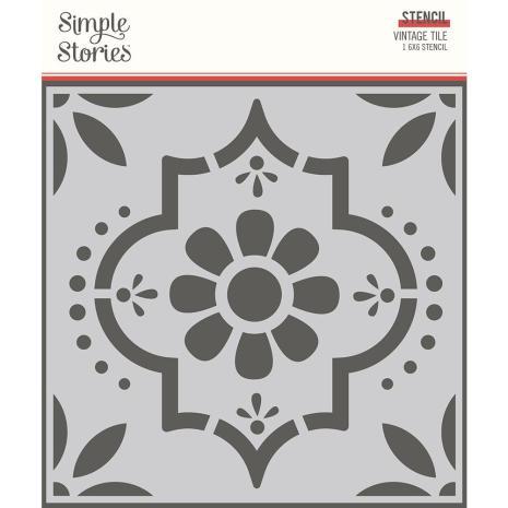 Simple Stories Apron Strings Stencil 6X6 - Vintage Tile