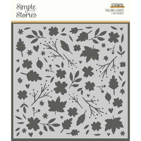 Simple Stories Cozy Days Stencil 6X6 - Falling Leaves