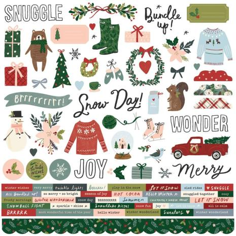 Simple Stories Winter Cottage Sticker Sheet 12X12 - Combo